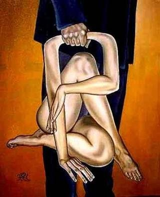 Derek Murphy: 'Suitcase', 2001 Oil Painting, Love. A man in a suit clutches the handle of a reposed female package. ...