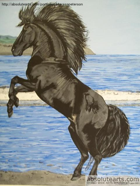 Teresa Peterson  'Black Stallion', created in 2005, Original Painting Ink.