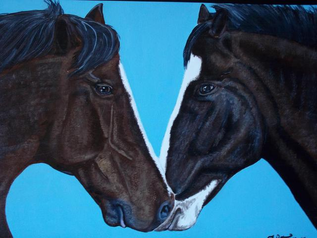 Teresa Peterson  'Horses In Love', created in 2005, Original Painting Ink.