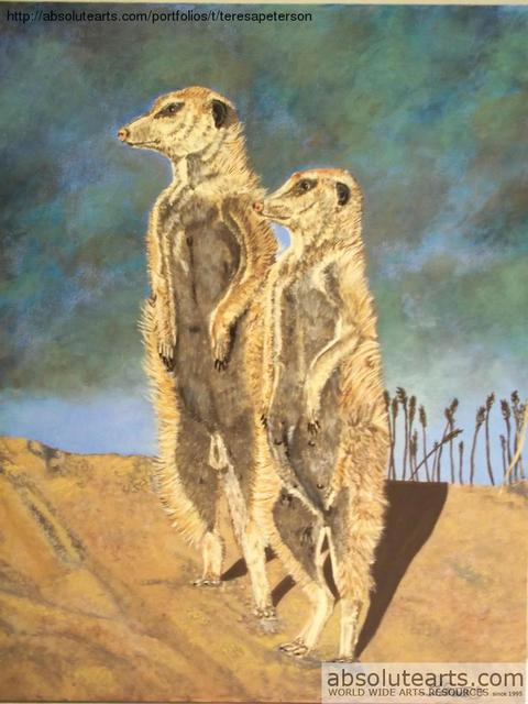 Teresa Peterson: Mamma and Pappa Meerkat, 2013 Acrylic Painting