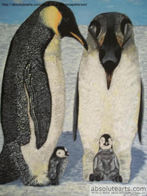 Teresa Peterson  'Penguin Family', created in 2005, Original Painting Ink.