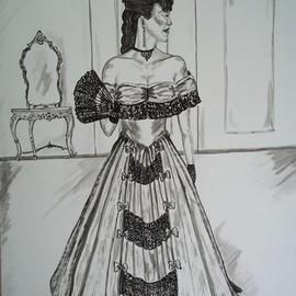 Teresa Peterson Artwork Victorian Ballgown, 2013 Ink Painting, Fashion