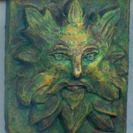 Teresa Turner: 'Gothic Green Man Wall Sculpture', 2006 Other Sculpture, Fantasy. Artist Description: A popular theme in 14th century art, this green man is created in hydrostone and acrylics, with a verdigris finish. ...