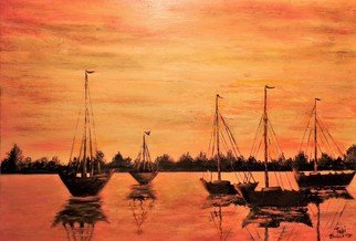Teri Paquette: 'anchored for the night', 2021 Oil Painting, Seascape. ORIGINAL OIL PAINTING  INSPIRED BY FLEET OF ANCHORED BOATS SEEN WHILE ON VACATION. THE SUN WAS SETTING AND REFLECTED ON WATER. SCENE WS GOLDEN AND BREATHTAKING. ...