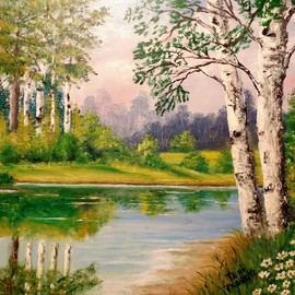 Teri Paquette: 'birch trees and lake', 2020 Oil Painting, Landscape. Artist Description: ORIGINAL OIL FEATURES GROUPS OF TREES- LARGE BIRCHES- SMALL LAKE- FLOWERS- SIGNED...