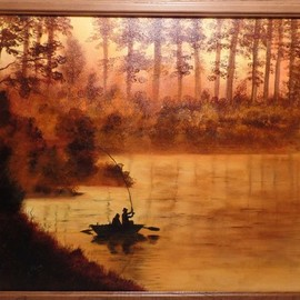 Teri Paquette: 'early morning fishing', 2020 Oil Painting, Landscape. Artist Description: DRIVING EARLY ONE MORNING- WE CAME UPON THIS SIGHT OF MEN FISHING- THE MORNING DEW WAS STILL ON AL THE FOLIAGE- IT WAS GLISTENING AND STRIKING TO SEE- FRAMED- PAINTED ON STRETCHED CANVAS- SIGNED...