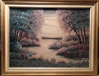 Teri Paquette: 'fantasy lake', 2020 Oil Painting, Landscape. THIS WAS PAINTED FROM A PHOTO OF AN ACTUAL MISTY EVENING AT A LAKE- THE COLORS APPEARED TO BE BLUES AND LAVENDER- LOVELY FRAME- ON STRETCHED CANVAS- 2 1 4 INCH WIDE FRAME...