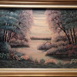 Teri Paquette: 'fantasy lake', 2020 Oil Painting, Landscape. Artist Description: THIS WAS PAINTED FROM A PHOTO OF AN ACTUAL MISTY EVENING AT A LAKE- THE COLORS APPEARED TO BE BLUES AND LAVENDER- LOVELY FRAME- ON STRETCHED CANVAS- 2 1 4 INCH WIDE FRAME...