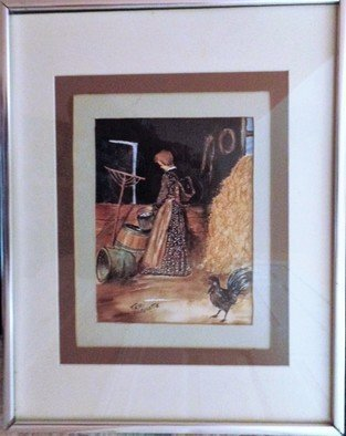Teri Paquette: 'gathering eggs', 2020 Watercolor, Americana. ORIGINAL WATERCOLOR FEATURES A LADY GATHERING EGGS IN BARN- WITH HAY- CHICKEN- TOOLS- UNDER GLASS- QUALITY SILVER FRAMED- SIGNED...