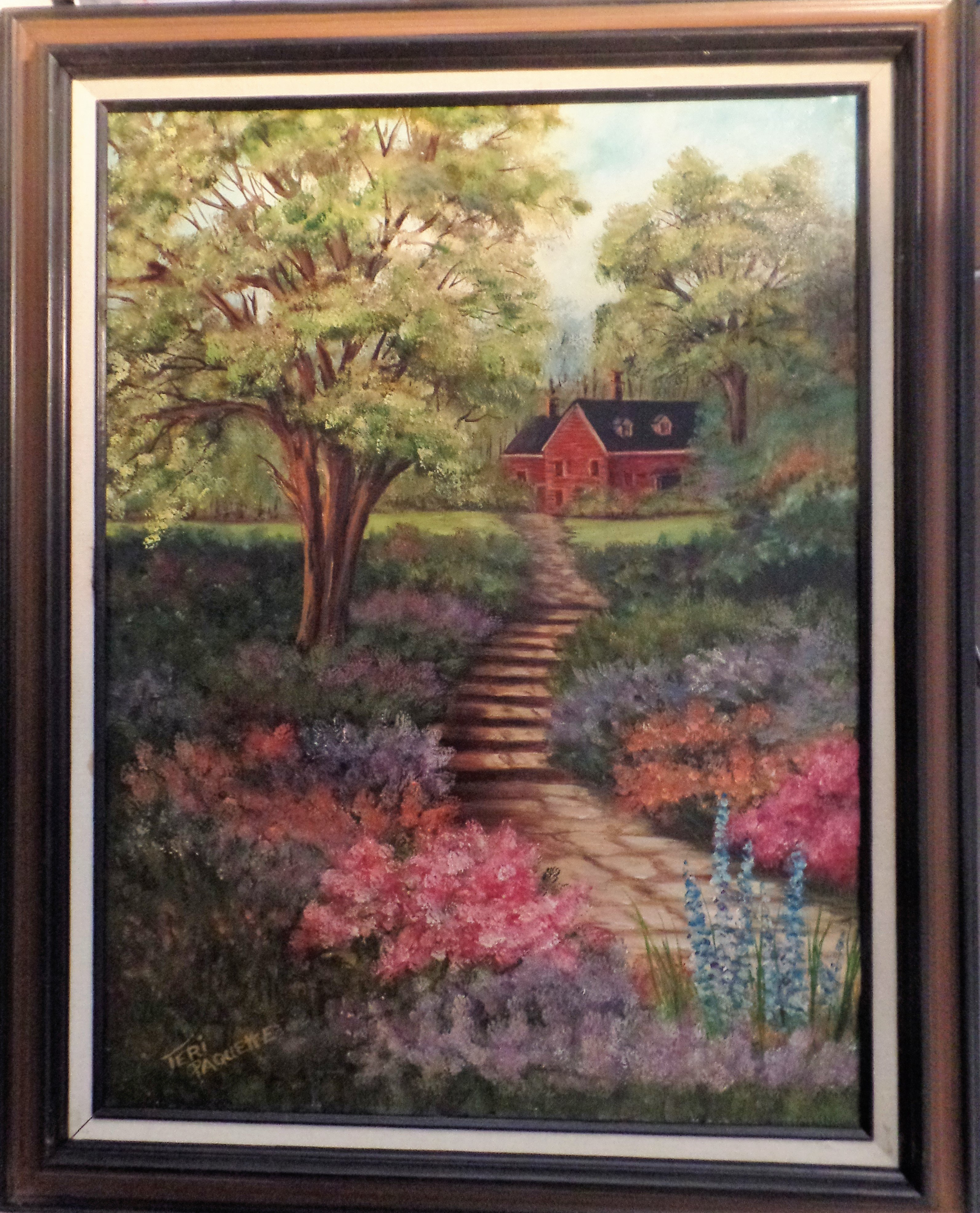 Teri Paquette: 'home garden', 2020 Oil Painting, Landscape. ORIGINAL OIL FEATURES A PATH TO HOME WITH FLOWERS- TREES- HOME IN BACKGROUND- SIGNED- FRAMED- - VARNISHED...