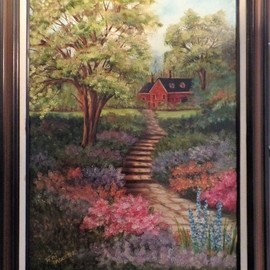 Teri Paquette: 'home garden', 2020 Oil Painting, Landscape. Artist Description: ORIGINAL OIL FEATURES A PATH TO HOME WITH FLOWERS- TREES- HOME IN BACKGROUND- SIGNED- FRAMED- - VARNISHED...
