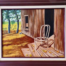 Teri Paquette: 'lonely chair', 2018 Oil Painting, Still Life. Artist Description: ABANDONED THREE LEGGED CHAIR IN OLD CABIN- OUT WEST...