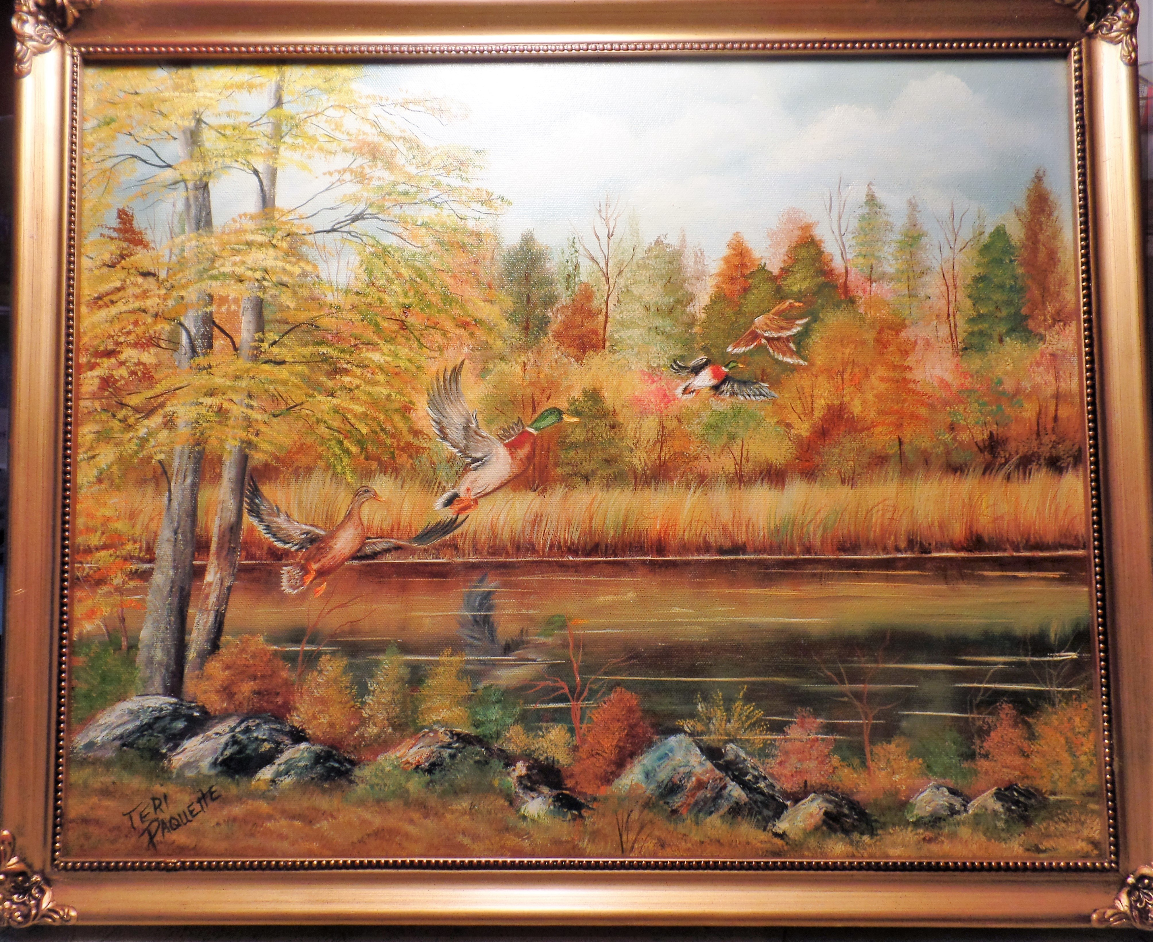 Teri Paquette: 'mallards in flight', 2019 Oil Painting, Landscape. I OFTEN TAKE LONG WALKS AND THIS SIGHT WAS A WELCOME SIGHT- IT IS AN ORIGINAL OIL PAINTING IN A ORNATE GOLD FRAME- SIGNED...