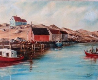 Teri Paquette: 'near peggys cove', 2020 Oil Painting, Seascape. OIL PAINTING FEATURES AC0VE WITH WHARF  IN BRITISH COLUMBIA- CAMPS- BOATS- OCEAN- ON STRETCHED CANVAS- VARNISHED- SIGNED- FRONT...