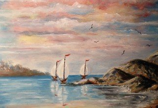 Teri Paquette: 'sailboats', 2020 Oil Painting, Seascape. ORIGINAL OIL PAINTING- FEATURES THREE SAILBOATS IN OCEAN- ROCKS- COLORFUL SKY- SEAGULLS- SIGNED...