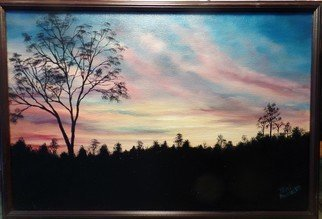 Teri Paquette: 'sunset to remember', 2020 Oil Painting, Landscape. AN ORIGINAL SUNSET WITH COLORFUL SKY- MANY TREES AND FOLIAGE- BLACK FRAME...