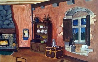 Terri Cabral: 'cats at home', 2016 Acrylic Painting, Home. A cozy cottage filled with cats. ...