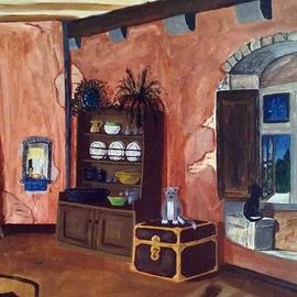 Terri Cabral: 'cats at home', 2016 Acrylic Painting, Home. Artist Description: A cozy cottage filled with cats. ...