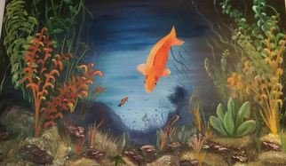 Terri Cabral: 'happy goldfish', 2004 Acrylic Painting, Animals. Artist Description: A happy goldfish swimming in his tank. ...