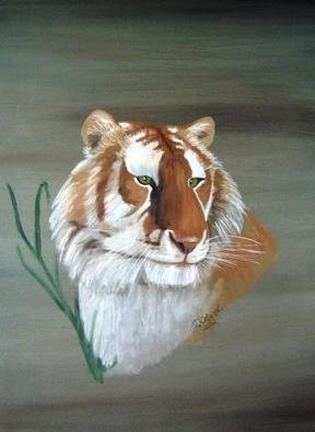 Terri Cabral: 'rhama', 2004 Oil Painting, Animals. A rare Golden Tabby Tiger named Rhama. ...