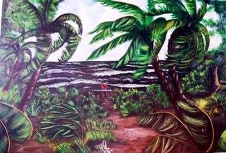 Terri Cabral: 'storm warnings', 2003 Acrylic Painting, Seascape. Artist Description: A hurricane storm approaching whipping up the waves and the trees on the beach. ...
