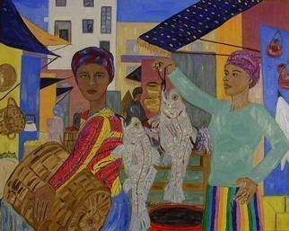 Culture Oil Painting by Terri Higgins Title: Fish Market, created in 2003
