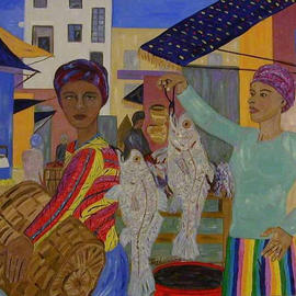 Terri Higgins: 'Fish Market', 2003 Oil Painting, Culture. Artist Description: Women shopping for fish. This piece is framed- natural maple....
