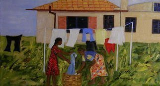 Culture Oil Painting by Terri Higgins Title: Laundry, created in 2003