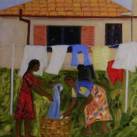 Terri Higgins: 'Laundry', 2003 Oil Painting, Culture. Artist Description: Women hanging out laundry...