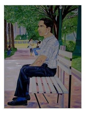 Culture Oil Painting by Terri Higgins Title: Man On Park Bench, created in 2005