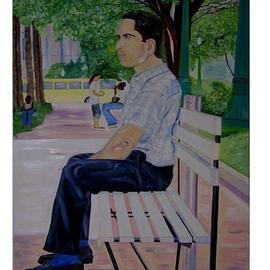 Terri Higgins Artwork Man On Park Bench, 2005 Oil Painting, Culture