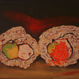 Terri Higgins: 'Sushi', 2012 Oil Painting, Still Life. Artist Description:  if you would like a sushi painting of your own, contact me. This painting is oil on linen. California roll and California roll with salmon roe.     ...