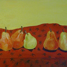 Terri Higgins: 'The Clique', 2003 Oil Painting, Still Life. Artist Description: Cliques exist in every society, even pears aren' t immune. Oil on Canvas...