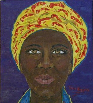 Culture Oil Painting by Terri Higgins Title: Woman in Yellow Head Wrap, created in 2003