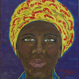 Terri Higgins: 'Woman in Yellow Head Wrap', 2003 Oil Painting, Culture. Artist Description: I admire the woman who is not afraid to include striking colors in her fashion. I love head wraps, they can be tied in different ways. This piece is framed- natural maple....