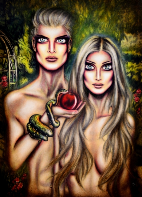 Tiago Azevedo  'Adam And Eve In Eden By Tiago Azevedo', created in 2016, Original Painting Oil.
