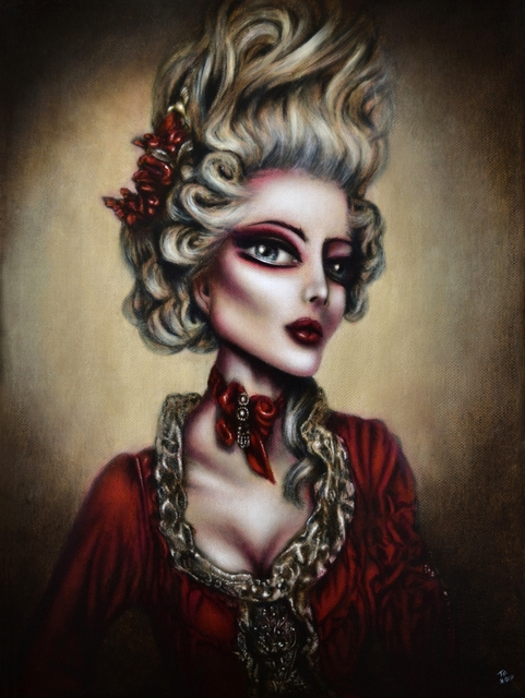 Tiago Azevedo  'Marie Antoinette Painting By Tiago Azevedo Lowbrow', created in 2017, Original Painting Oil.