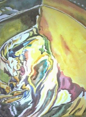 Than Htike: 'Bronze Face of Buddha', 2016 Watercolor, Buddhism. Artist Description:  The face is reflected colour from neighbour and being colourful on the yellow is the primary color. So interesting oneyou would like to buy this , no frame and packed in rolling  ...
