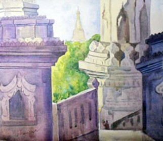 Artist: Than Htike - Title: One of Sagaing Mountain - Medium: Acrylic Painting - Year: 2010
