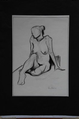 Thea Bourne Artwork Seated Female, 2007 Charcoal Drawing, Nudes