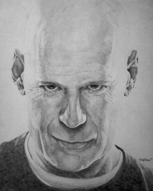 Pencil Drawing by Adam Burgess titled: Bruce Willis Original, 2008