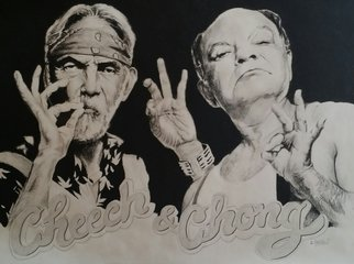 Artist: Adam Burgess - Title: Cheech and Chong - Medium: Charcoal Drawing - Year: 2014