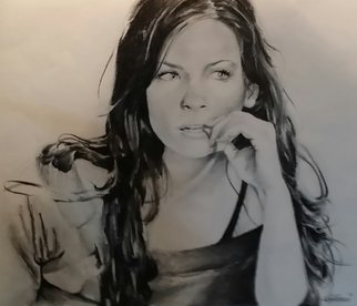 Adam Burgess Artwork Evageline Lilly, 2008 Charcoal Drawing, People