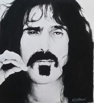 Adam Burgess Artwork Frank Zappa, 2014 Charcoal Drawing, People