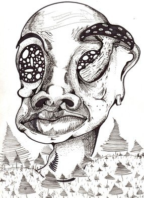 Holden St.aubyn Artwork Forest of My Own Creation, 2016 Pen Drawing, Surrealism