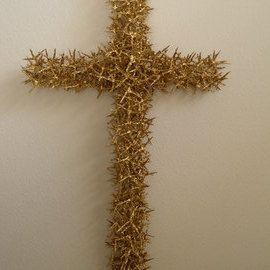 Robert Haifley: 'Gold Over Sin', 2015 Wood Sculpture, Religious. Artist Description:  Toothpick Sculpture titled Gold Over Sin. This piece contains over 6,500 small narrow toothpicks. Each toothpick had to be individually cracked in 2- places then glued together to form a small thorn. This process is extremely time consuming but rewarding to me as a sculptor. Each individual ...