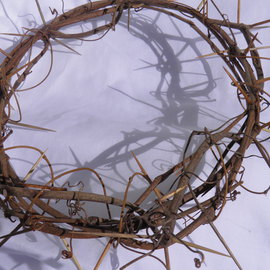 Robert Haifley: 'Our Crown', 2016 Wood Sculpture, Religious. Artist Description: life- Size Crown of Thorns constructed and sculpted with aged grape vine and toothpicks. This piece is 12- inches across and approximately 2- 3 inches wide. I have made 14 of these crowns and No 2- of them are the same. Each Crown takes approximately 125- hours to ...