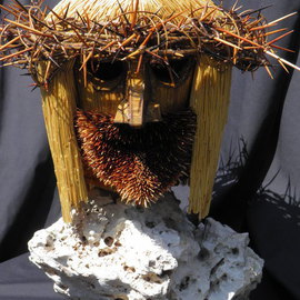 Robert Haifley: 'The Son', 2016 Wood Sculpture, Religious. Artist Description: Life- Size toothpick sculpture bust of Jesus Christ containing over 45,000 toothpicks. The hair is comprised of over 20,000 flat toothpicks and the beard is comprised of over 5,000 hand stained toothpick tips. This piece took over 3,290- hours to sculpt and construct. It ...