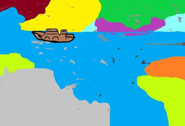 Themis Koutras  'Boat At Sea', created in 2019, Original Computer Art.