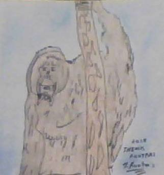 Themis Koutras: 'ape', 2019 Watercolor, Animals. Artist Description: This is a picture of a wild Ape...